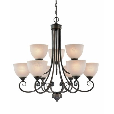 Ora 9-Light Shaded Chandelier Finish: Old Bronze with Amber Tinted Faux Alabaster