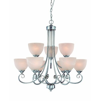 Ora 9-Light Shaded Chandelier Finish: Satin Nickel wtih White Faux Alabaster