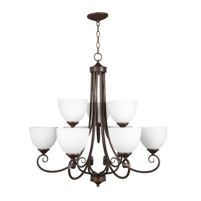 Ora 9-Light Shaded Chandelier Color: Oiled Bronze with White Frosted Glass