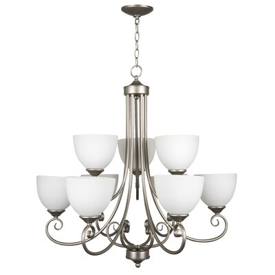 Ora 9-Light Shaded Chandelier Color: Satin Nickel with White Frosted Glass