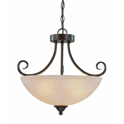 Ora 3-Light Mini Inverted Pendant Color: Old Bronze with Amber Tinted Faux Alabaster