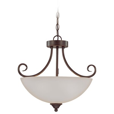 Ora 3-Light Mini Inverted Pendant Color: Oiled Bronze with White Frosted Glass