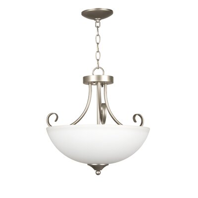 Raleigh 3-Light Mini Inverted Pendant Finish: Satin Nickel with White Frosted Glass