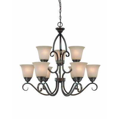 Charter Oak 9-Light Shaded Chandelier