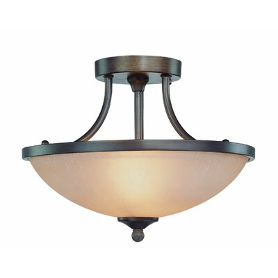 Spencer 2-Light Semi Flush Mount Finish: Bronze, Glass Type: Amber