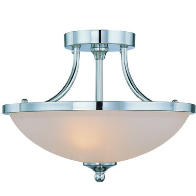 Spencer 2-Light Semi Flush Mount Finish: Chrome, Glass Type: Amber