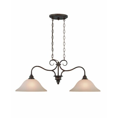 Linden Lane 2-Light Inverted Pendant Finish: Old Bronze, Glass Type: Amber