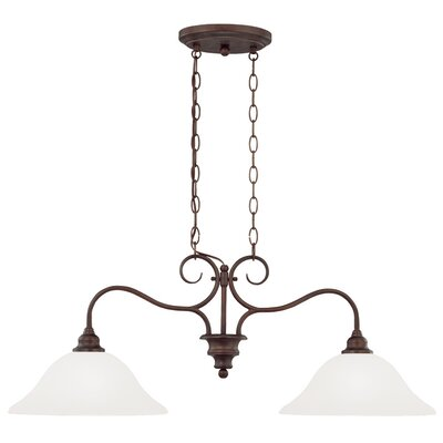 Charlemont 2-Light Inverted Pendant Color: Oiled Bronze, Glass Type: White