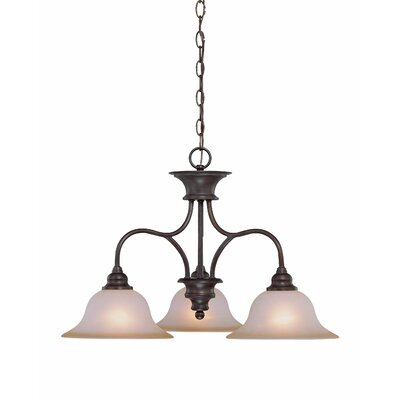 Charlemont 3-Light Shaded Chandelier Color: Old Bronze, Glass Type: Amber
