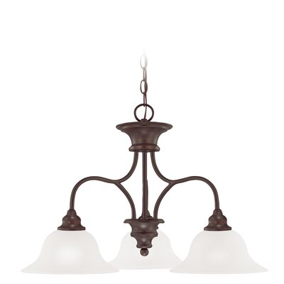 Charlemont 3-Light Shaded Chandelier Color: Oiled Bronze, Glass Type: White