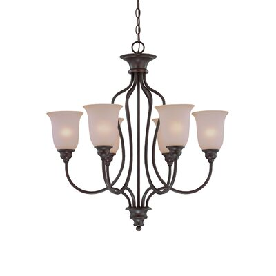 Charlemont 6-Light Shaded Chandelier Color: Old Bronze, Glass Type: Amber