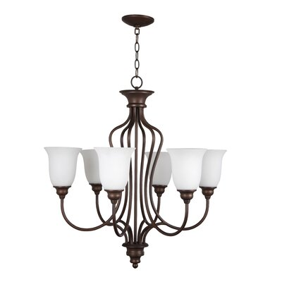 Charlemont 6-Light Shaded Chandelier Color: Oiled Bronze, Glass Type: White