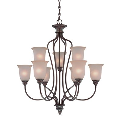 Charlemont 9-Light Shaded Chandelier Color: Old Bronze, Glass Type: Amber