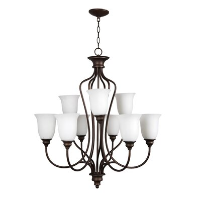 Charlemont 9-Light Shaded Chandelier Finish: Satin Nickel, Glass Type: Amber
