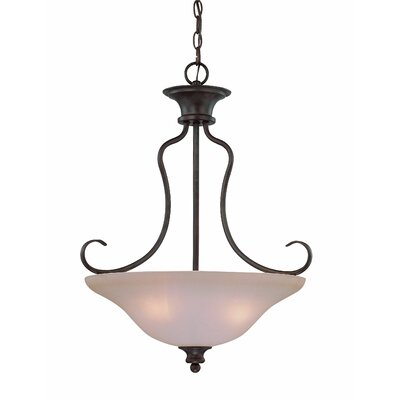 Charlemont 3-Light Inverted Pendant Finish: Old Bronze, Glass Type: Amber