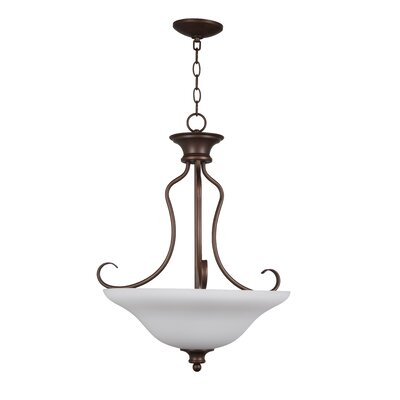 Charlemont 3-Light Inverted Pendant Finish: Satin Nickel, Glass Type: Amber