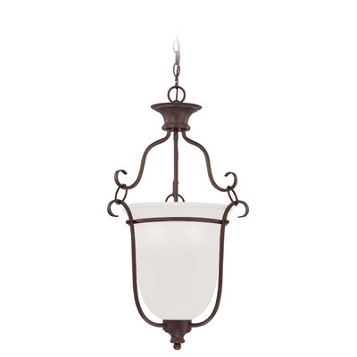Charlemont 3-Light Foyer Pendant Finish: Satin Nickel, Glass Type: Amber