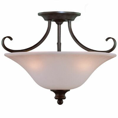 Charlemont 3-Light Semi Flush Mount Finish: Old Bronze, Glass Type: Amber