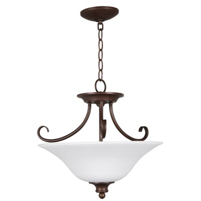 Charlemont 3-Light Semi Flush Mount Color: Oiled Bronze, Glass Type: White