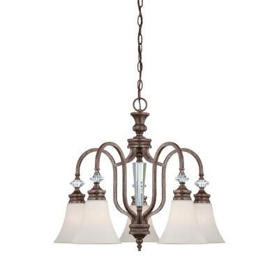Derrik 5-Light Shaded Chandelier Glass Type: White