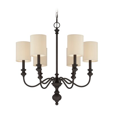 Stanmore 6-Light Semi Flush Mount Finish: Gothic Bronze/Beige