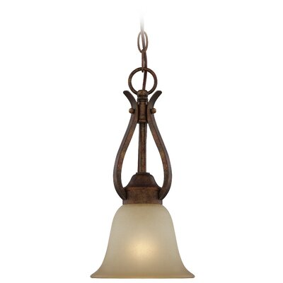 Pottersmoor 1-Light Mini Pendant Finish: Burleson Bronze, Glass Type: Tea Stain