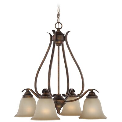 Pottersmoor 4-Light Shaded Chandelier Finish: Burleson Bronze, Glass Type: White