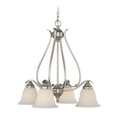 Pottersmoor 4-Light Shaded Chandelier Finish: Brushed Polished Nickel, Glass Type: White