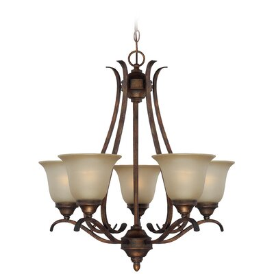 McKinney 5-Light Shaded Chandelier Finish: Burleson Bronze, Glass Type: Tea Stain