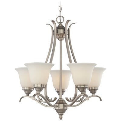 Pottersmoor 5-Light Shaded Chandelier Finish: Brushed Nickel, Glass Type: White