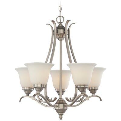 McKinney 5-Light Shaded Chandelier Finish: Brushed Nickel, Glass Type: White