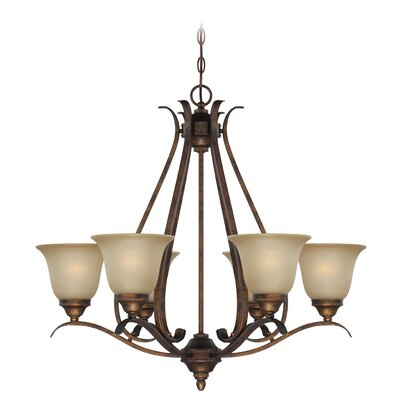 Pottersmoor 6-Light Shaded Chandelier Finish: Burleson Bronze, Glass Type: Tea Stain