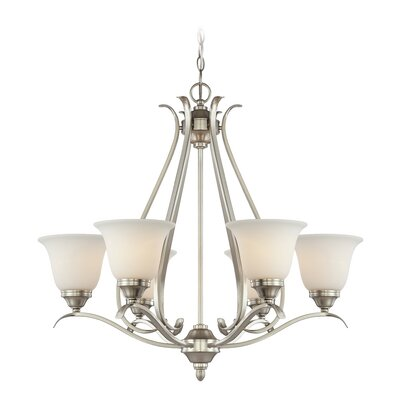 Pottersmoor 6-Light Shaded Chandelier Finish: Brushed Nickel, Glass Type: White