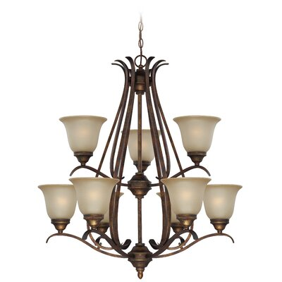 Pottersmoor 9-Light Shaded Chandelier Finish: Burleson Bronze, Glass Type: White