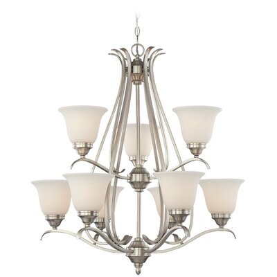 Pottersmoor 9-Light Shaded Chandelier Finish: Brushed Nickel, Glass Type: White