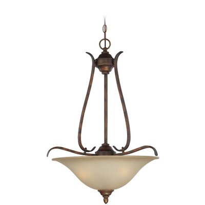 Pottersmoor 3-Light Inverted Pendant Finish: Burleson Bronze, Glass Type: White
