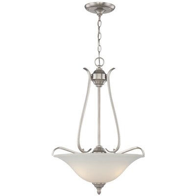 McKinney 3-Light Inverted Pendant Finish: Brushed Polished Nickel, Glass Type: White