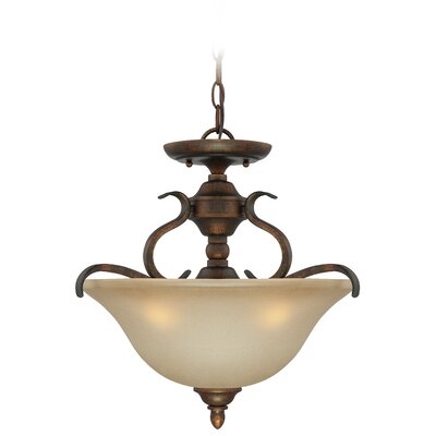 Pottersmoor 3-Light Semi Flush Mount Finish: Burleson Bronze, Glass Type: Salted Carmel