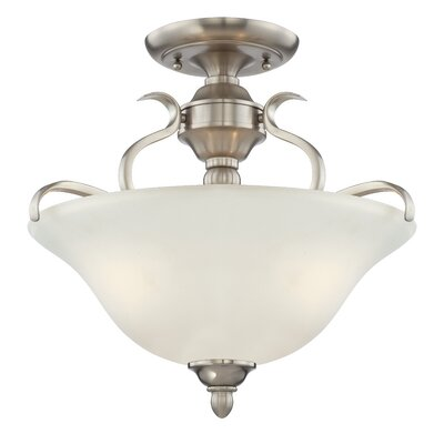 Pottersmoor 3-Light Semi Flush Mount Finish: Brushed Polished Nickel, Glass Type: White