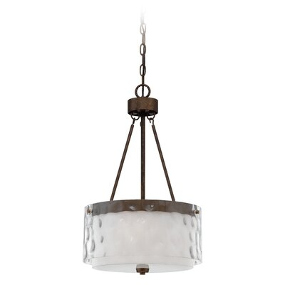 Corisande Glass Shade 3-Light Drum Pendant