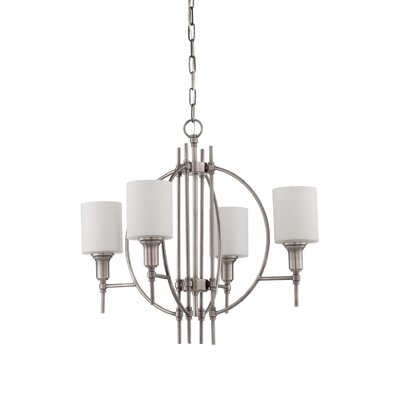 Brocka 4-Light Shaded Chandelier Finish: Antique Nickel