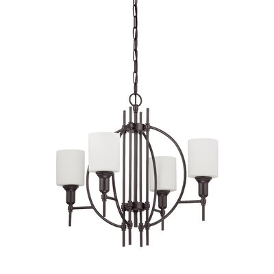 Meridian 4-Light Shaded Chandelier Finish: Espresso