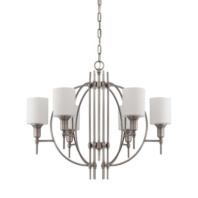 Brocka Modern 6-Light Shaded Chandelier Finish: Antique Nickel