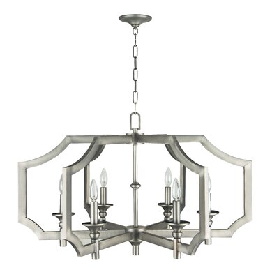 Lisbon 6-Light Foyer Pendant Finish: Antique Nickel, Size: 21.35 H x 33.83 W