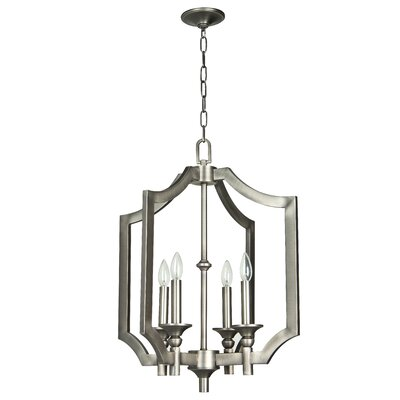 Rahul 4-Light Foyer Pendant Finish: Antique Nickel, Size: 19.5 H x 15 W