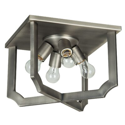 Rahul 4-Light Flush Mount Finish: Antique Nickel