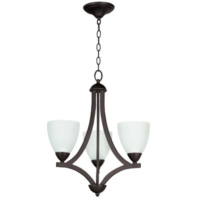 Alvah 3-Light Shaded Chandelier Shade Color: White Frosted, Finish: Satin Nickel