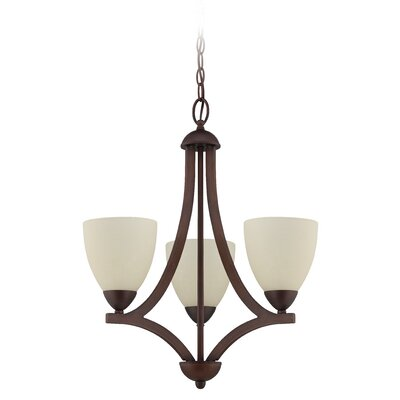 Almeda 3-Light Shaded Chandelier Finish: Oiled Bronze, Shade Color: Creamy Frosted