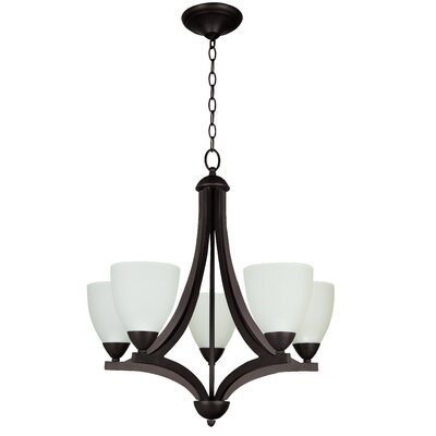 Alvah 5-Light Shaded Chandelier Finish: Oiled Bronze, Shade Color: White Frosted