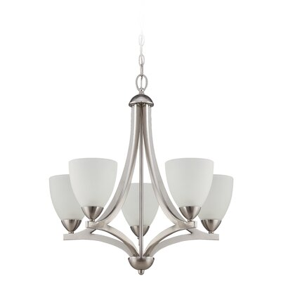Alvah 5-Light Shaded Chandelier Finish: Satin Nickel, Shade Color: White Frosted